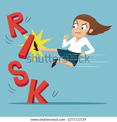Businesswoman breaking word risk falling down by kicked, vector illustration cartoon
