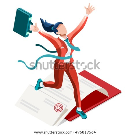businesswoman career building concept vector infographic isometric woman isolated person 3d character ambitious career start