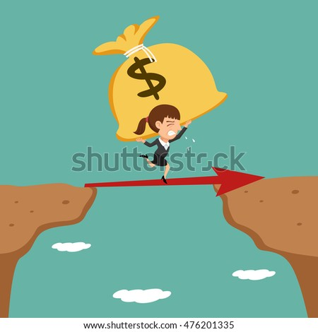 Businesswoman carrying bag of money walking cross the cliff, vector illustration cartoon