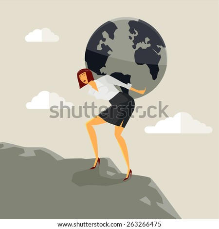 Businesswoman carrying the earth on his shoulders and climbing a mount. Concept Vector, Illustration. - stock vector