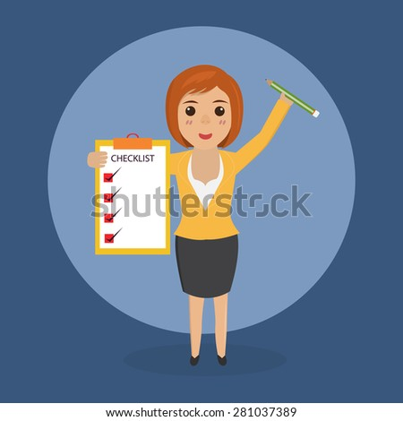 businesswoman character with check list