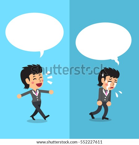 Businesswoman expressing different emotions with white speech bubbles