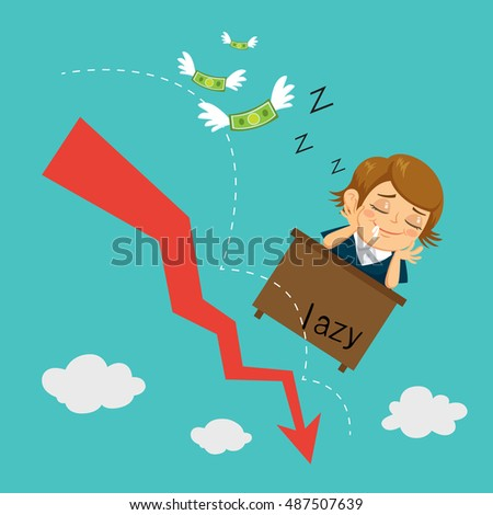 Businesswoman falls asleep at his desk while arrow graph down, vector illustration cartoon