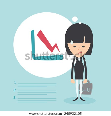 Businesswoman frustrated with decrease arrow chart. Economic crisis concept. Vector illustration  - stock vector