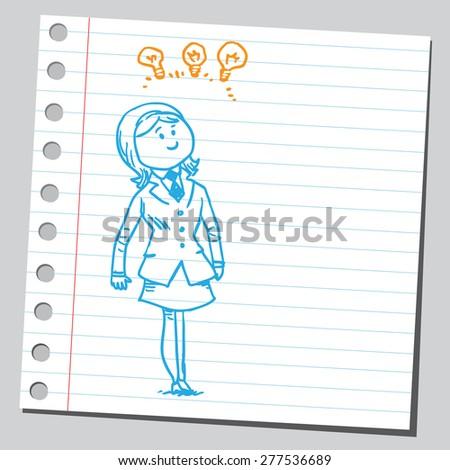 Businesswoman having multiple ideas - stock vector