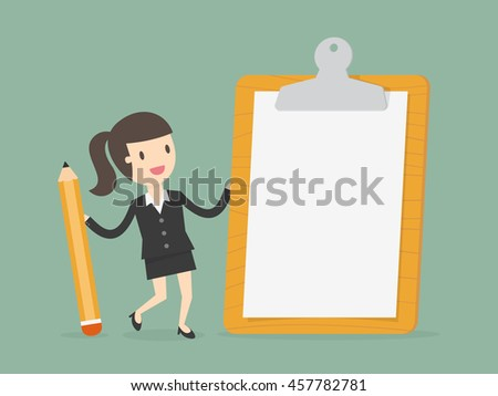 Businesswoman holding a clipboard with blank white paper. Flat design business concept cartoon illustration.