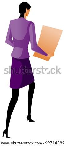 businesswoman holding chart - stock vector