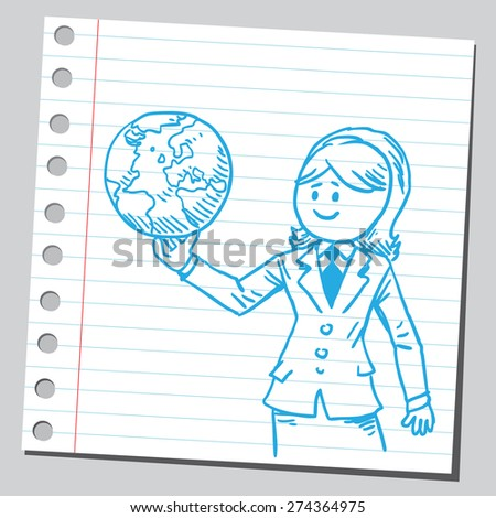 Businesswoman holding planet Earth - stock vector