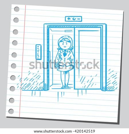 Businesswoman in elevator - stock vector