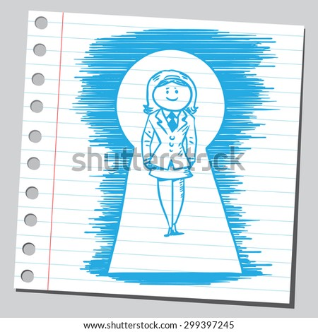 Businesswoman in key hole - stock vector