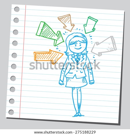 Businesswoman in the middle of arrows - stock vector