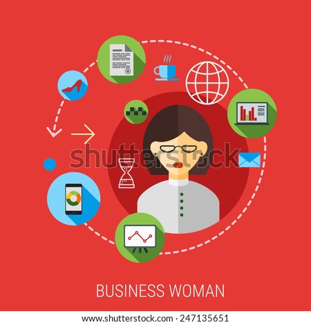 businesswoman infographic icon collage. Vector illustration of business woman in suit with activity lifestyle, work duties, responsibility icons. Finance, time management concept. Flat style modern  - stock vector