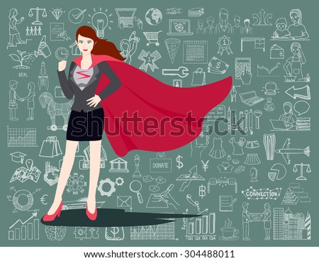 Businesswoman is a Superhero. Super businesswoman proudly standing in front of chalkboard with business doodles background. - stock vector