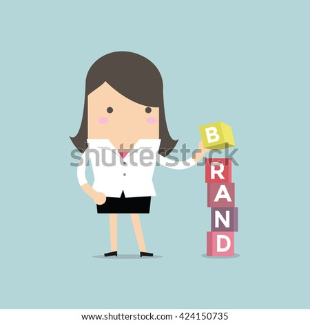 Businesswoman is building Brand cubic box puzzle, vector - stock vector