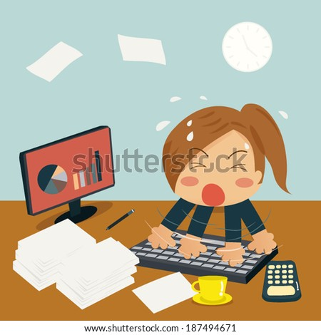 Businesswoman is Speedy Typing In Office on Desk among huge piles of documents and almost time out. - stock vector