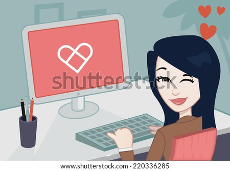 businesswoman looking at the camera - stock vector