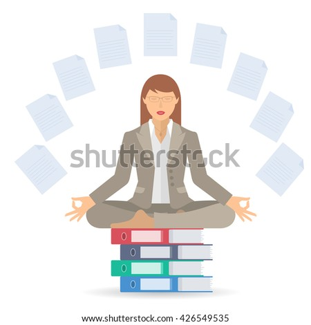 Businesswoman meditates at work in the lotus pose. Manager surrounded with office documents sitting on the folders pile. Flat vector business concept infographic and illustration of woman meditation.  - stock vector