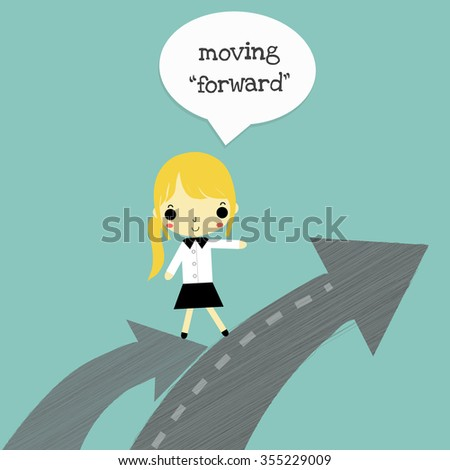 businesswoman move from high arrow to higher arrow on blue background. - stock vector