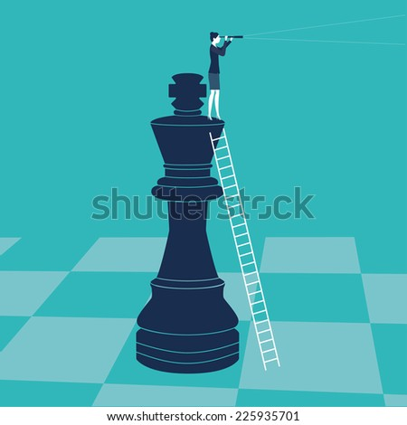Businesswoman on a chess piece. Vector illustration. Created with adobe illustrator. - stock vector