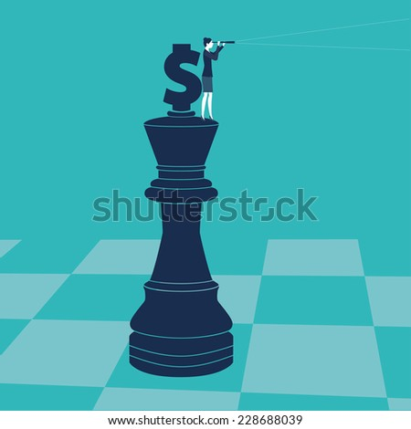 Businesswoman on a chess piece with money sign looking through a spyglass. Vector illustration. Created with adobe illustrator. - stock vector