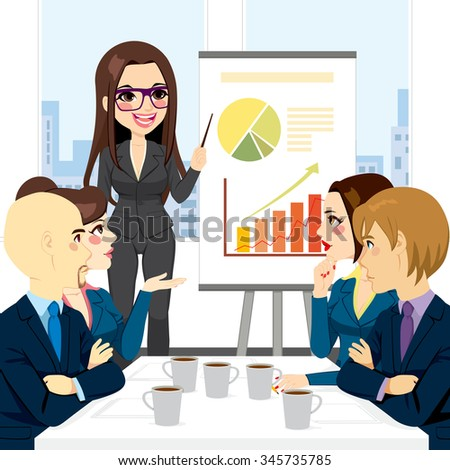 Businesswoman on a meeting with group explaining information graphics on flip chart  - stock vector