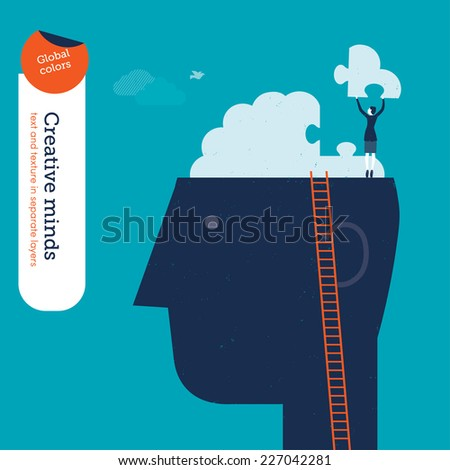 Businesswoman on head with brain puzzle. Vector illustration Eps10 file. Global colors. Text and Texture in separate layers. - stock vector