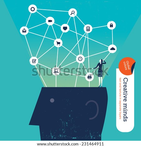 Businesswoman on top of a head with icons. Vector illustration Eps10 file. Global colors. Text and Texture in separate layers. - stock vector
