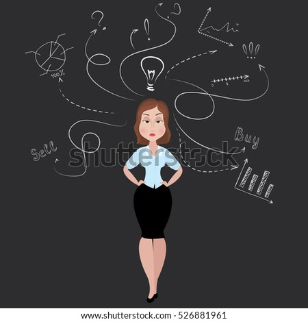 Businesswoman or office worker with a good idea and standing against doodle business sketch, stock vector illustration