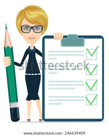 Businesswoman or Teacher Holding a Document in Which All Approved, Validated, Agreed and big green pencil. The Document Put the Green Check Mark, Flags. Vector Illustration - stock vector