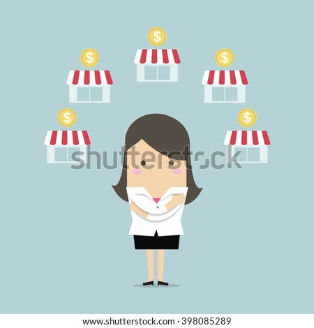 Businesswoman planing franchise business - stock vector