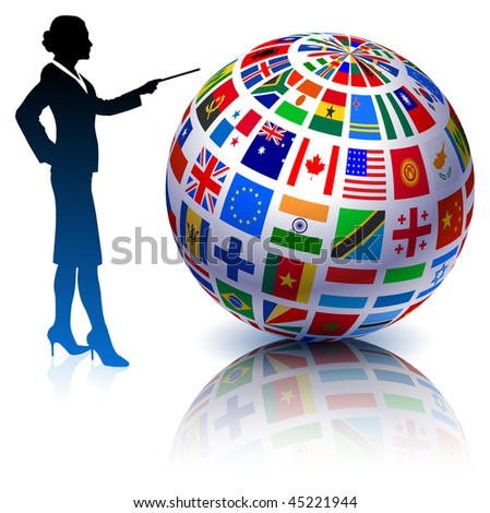 Businesswoman presenting Flags Globe Original Vector Illustration