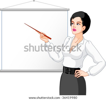 Businesswoman  presenting on a white board. Images are separated.Your product or message can be added. - stock vector