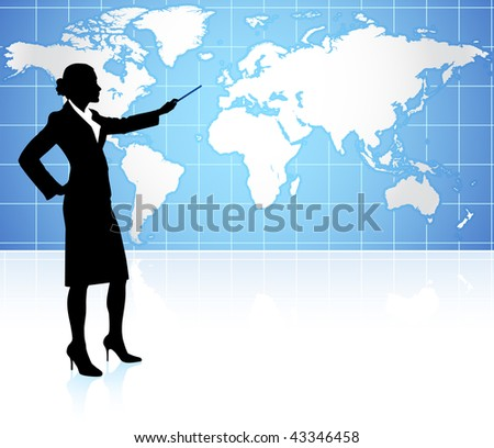 Businesswoman presenting World Map Background - stock vector