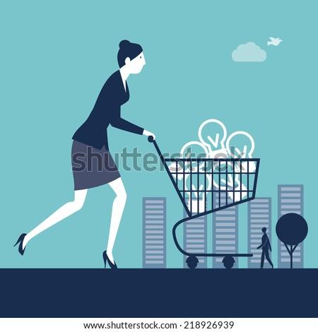 Businesswoman pushing a shopping cart with light bulbs - stock vector
