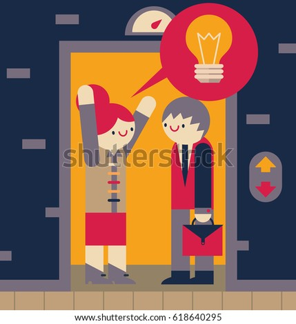 people in elevator clipart. businesswoman raises her arms as she tell with enthusiasm an idea to somebody on elevator people in clipart u