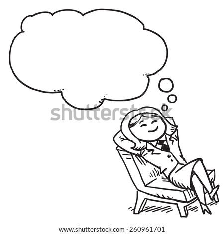 Businesswoman resting nad dreaming in chair - stock vector