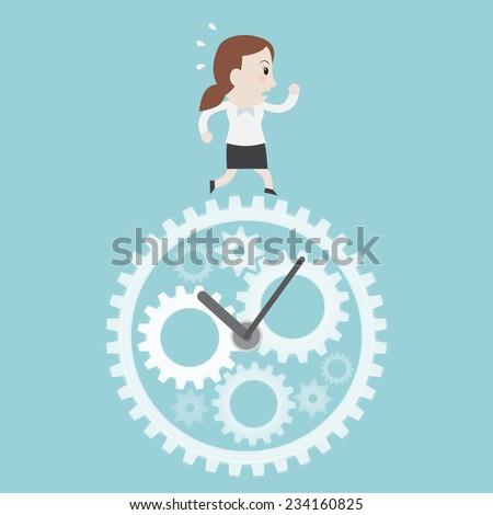 Businesswoman running on clock - Vector  - stock vector