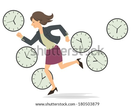 Businesswoman running passing through the clock which telling time every period in a whole day, representing to woman being very busy from the morning  until finish working in the evening.     - stock vector
