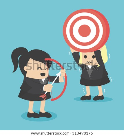 BusinessWoman shooting target with a bow.eps.10 - stock vector
