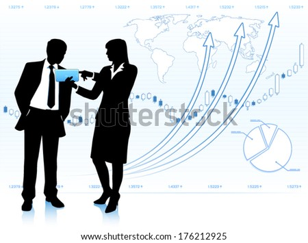 Businesswoman shows tablet computer to businessman (EPS10 vector) - stock vector