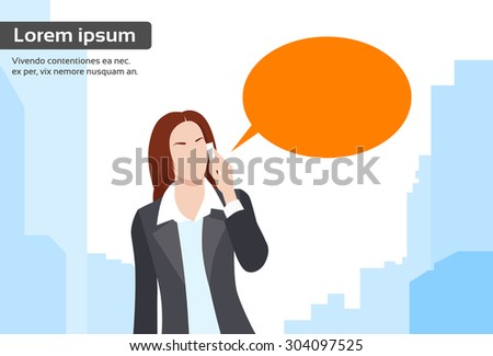 Businesswoman Smart Phone Talk Chat Bubble Communication Flat Vector Illustration - stock vector