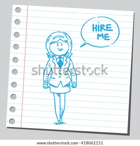 Businesswoman speaking hire me phrase - stock vector