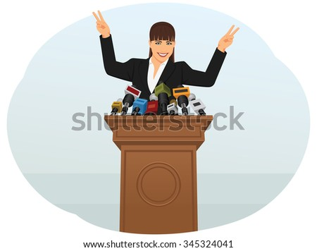Businesswoman speaking into microphones to reporters. Press and media conference. Victory gesture. - stock vector