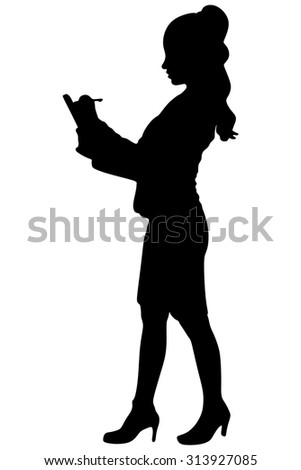 businesswoman standing and making a list in her office - stock vector