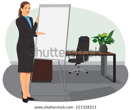 Businesswoman standing next to flip board and pointing hand. She is smiling. - stock vector