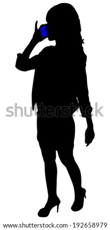 Businesswoman talking on mobile phone, vector  - stock vector
