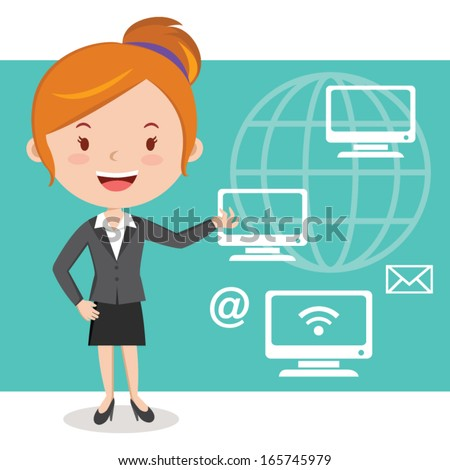 Businesswoman, technology connectivity concept. Vector illustration of Businesswoman working in the computer technology.  - stock vector