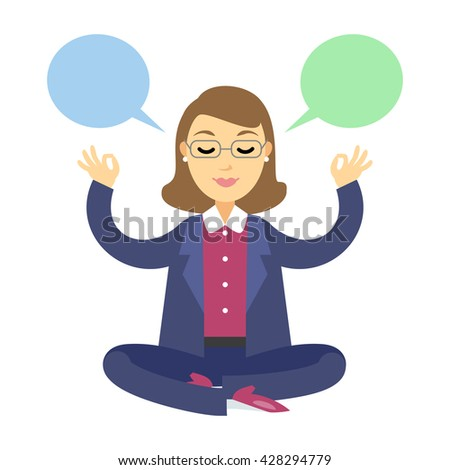 Businesswoman thinking during meditation. Woman doing yoga meditation or relaxing, choose right decisions. Vector cartoon illustration - stock vector