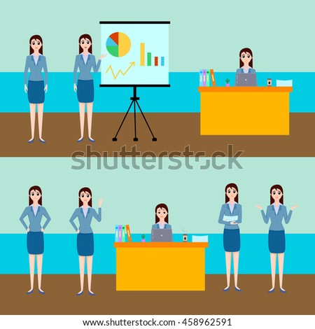 Businesswoman vector illustration character set, woman in blue blouse and skirt in different poses, with various facial expressions, sitting at the laptop, working, presentation - stock vector