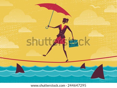 Businesswoman walks Tightrope with Umbrella. Great illustration of Retro styled Businesswoman walking carefully across a very high tightrope with her umbrella for added protection. - stock vector